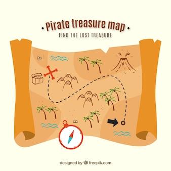 Pergamena con mappe del tesoro del pirata