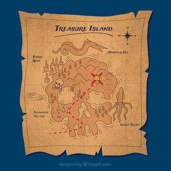 Pergamena d'epoca con isola del tesoro