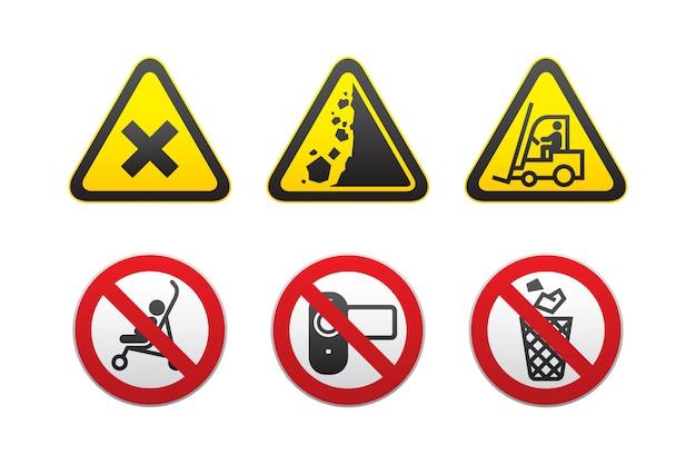 Pericolo di avvertimento e segni proibiti impostati