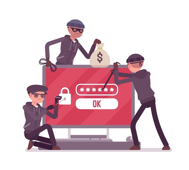 Pericolo di hacking delle password in design piatto