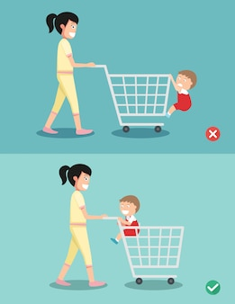 Pericolo e sicurezza per il bambino siedono nel carrello della spesa