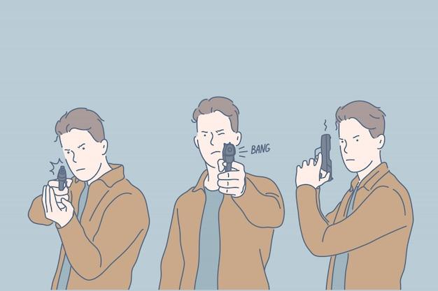 Pericoloso criminale con la pistola