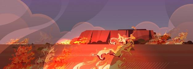Pericoloso incendio boschivo australia sviluppo del fuoco boschi secchi bruciando alberi riscaldamento globale concetto di disastro naturale fiamme arancione intenso orizzontale