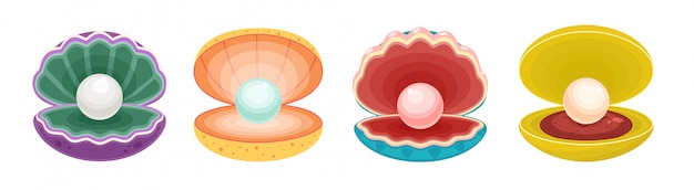 Perla nell'icona stabilita del fumetto isolata conchiglia. palla di gioielli illustrazione su sfondo bianco. icona del fumetto imposta perla in conchiglia.