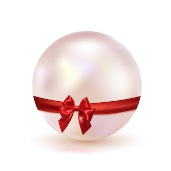 Perla rosa con un fiocco rosso di nastro di raso isolato su uno sfondo bianco. design glamour. gioielli. illustrazione.