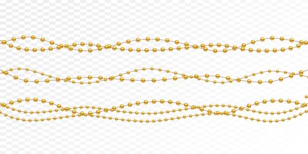 Perle d'oro su uno sfondo bianco.