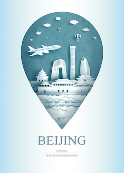 Perno del monumento di architettura della cina pechino di viaggio in asia con antico.
