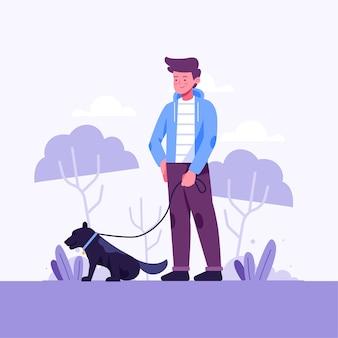 Persona che cammina l'illustrazione del cane