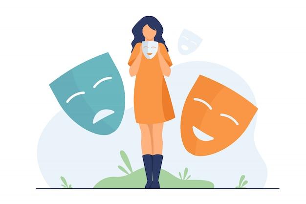 Persona che copre le emozioni, cerca l'identità