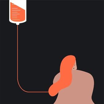 Persona che dona l'illustrazione di vettore di sangue