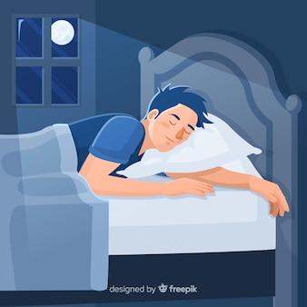 Persona che dorme nel letto in stile piatto
