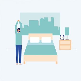 Persona che fa esercizio sulla sua camera da letto, stile piano