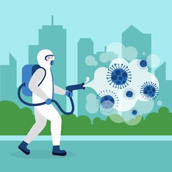 Persona che fa la disinfezione da virus