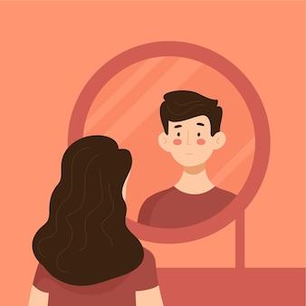 Persona che guarda nello specchio dell'identità di genere