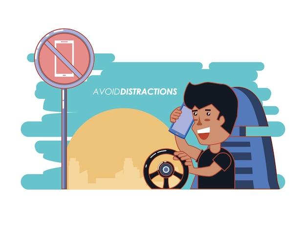 Persona che guida con un'etichetta di distrazioni del vuoto