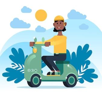 Persona che guida uno scooter fuori