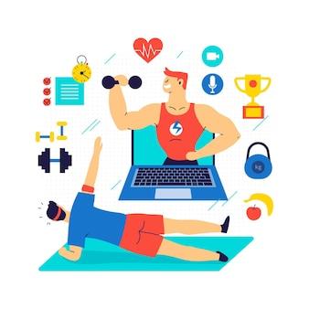 Persona che si esercita con personal trainer online