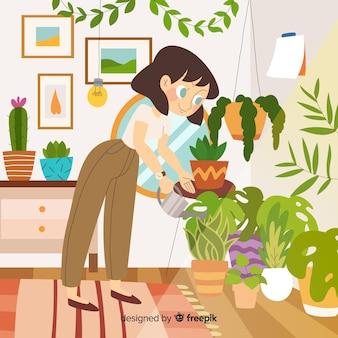 Persona che si prende cura delle piante