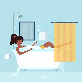 Persona che si rilassa nell'illustrazione della vasca