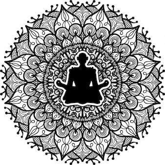 Persona che si siede nella siluetta di posa del loto
