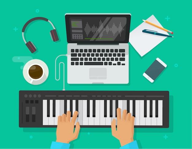 Persona che suona la tastiera del pianoforte midi