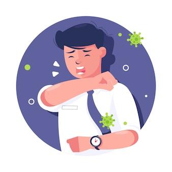 Persona che tossisce con coronavirus