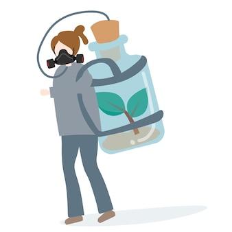 Persona che trasporta un serbatoio di aria fresca