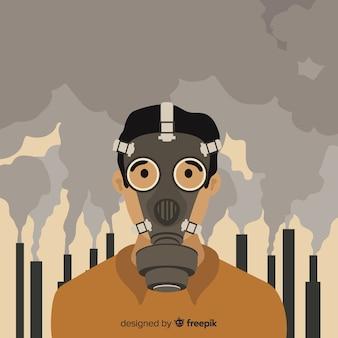 Persona che vive in una città piena di inquinamento