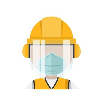 Persona con i suoi dispositivi di protezione individuale e maschera facciale