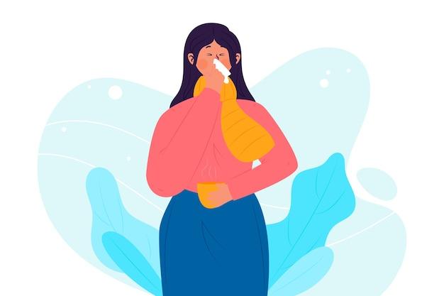 Persona con il concetto freddo per l'illustrazione