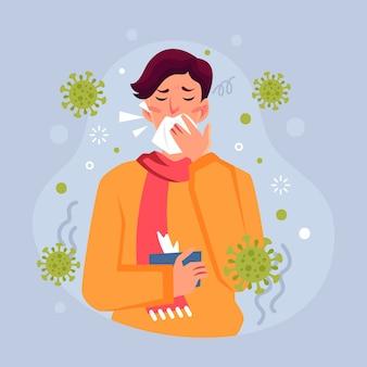 Persona con tosse di coronavirus