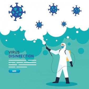 Persona con tuta protettiva o spruzzi di virus e particelle covid 19, design illustrazione concetto di disinfezione virus