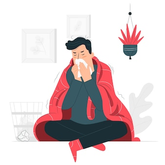 Persona con un'illustrazione fredda di concetto