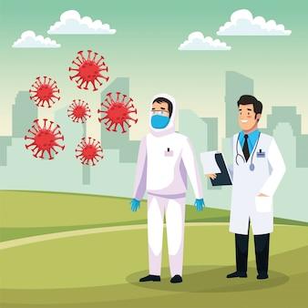 Persona di pulizia a rischio biologico con caratteri di dottore