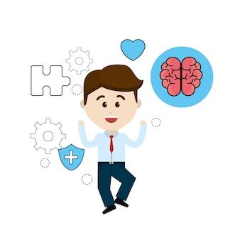 Persona di salute mentale con punte cura cervello