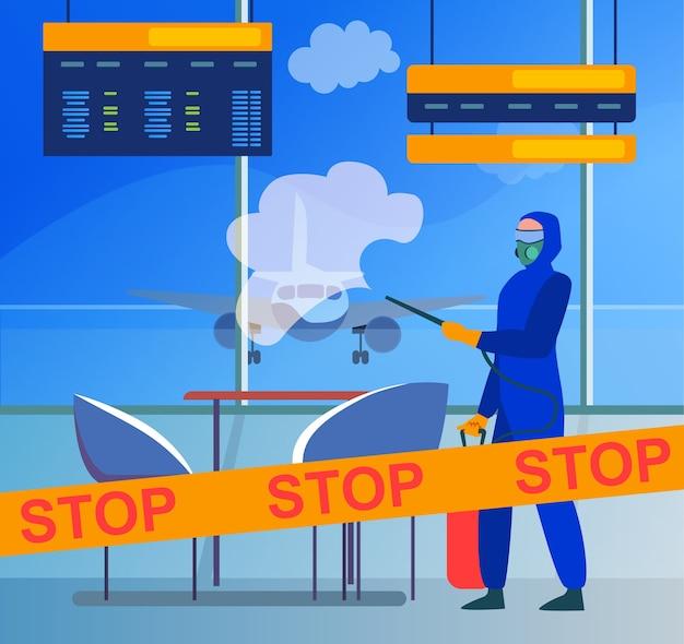 Persona in costume protettivo che disinfetta l'aeroporto dal virus. coronavirus, aereo, fermata piatta illustrazione vettoriale. pandemia e prevenzione