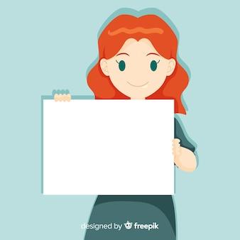 Persona in possesso di banner bianco