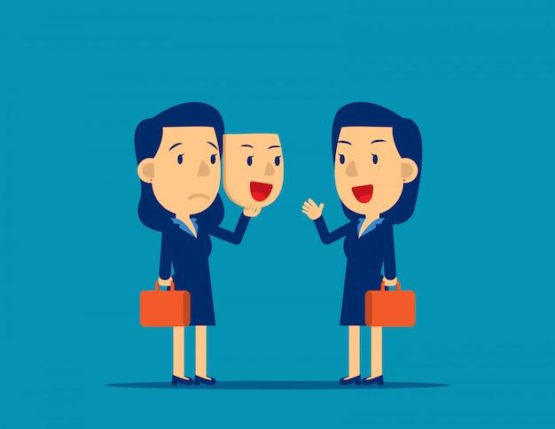 Persona in possesso di maschera felice. illustrazione di vettore dei colleghi di affari di concetto