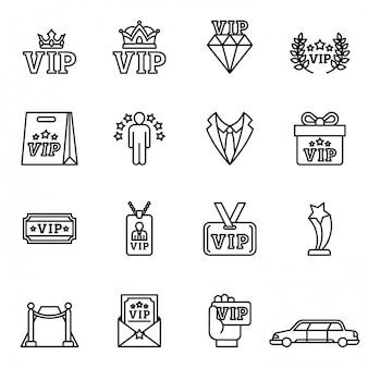 Persona molto importante, set di icone per i clienti vip. stock stile linea