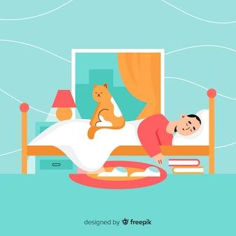 Persona piatta che dorme nel letto di sfondo