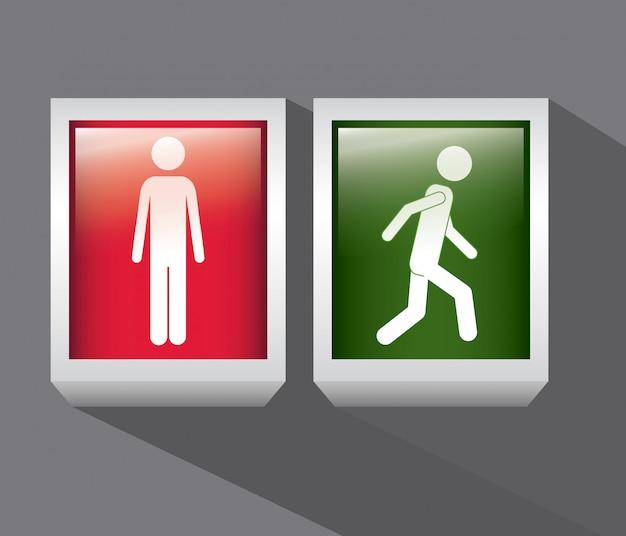 Persona rossa e verde. fermati e cammina. progettazione del segno.
