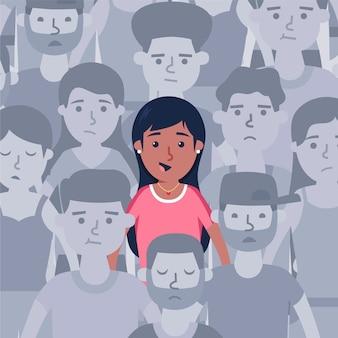 Persona sorridente in mezzo alla folla