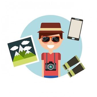 Persona turistica con macchina fotografica fotografica
