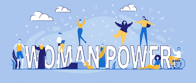 Personaggi ballano intorno a woman power typography