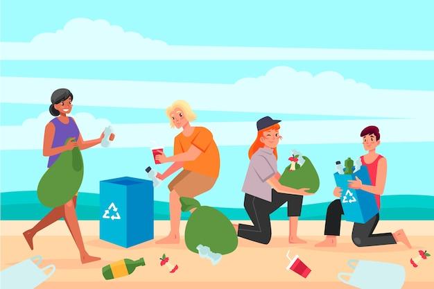Personaggi che puliscono la spiaggia