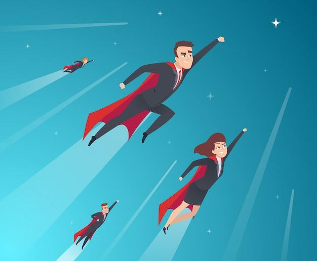 Personaggi concetto di business. un team di professionisti che lavora potenti supereroi in azione pone un background aziendale