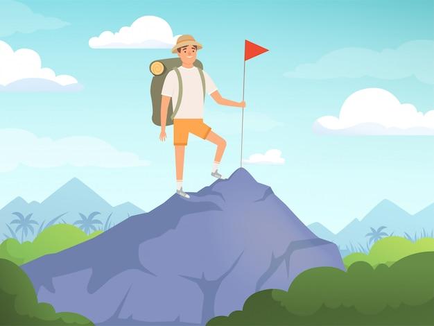 Personaggi da campeggio. facendo un'escursione il concetto di viaggio della natura della gente del fondo
