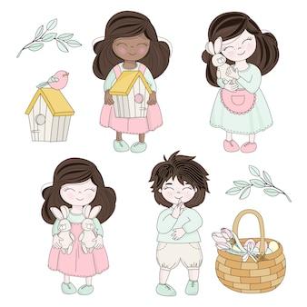 Personaggi dei bambini di pasqua di primavera