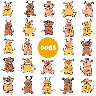 Personaggi dei cartoni animati cane emozioni e stati d'animo grande insieme