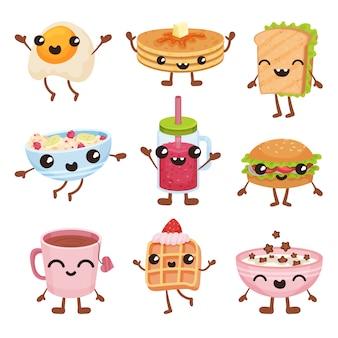 Personaggi dei cartoni animati degli alimenti a rapida preparazione messi, piatti deliziosi e bevande con l'illustrazione sorridente dei fronti su un fondo bianco